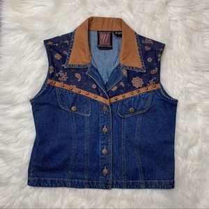 Vintage Boho Denim Button Vest Size Small